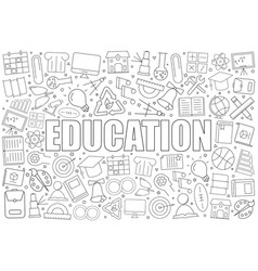 Education background from line icon vector