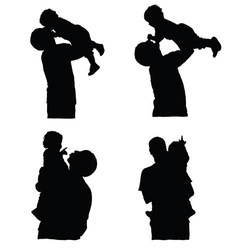 father holding baby silhouette vector image