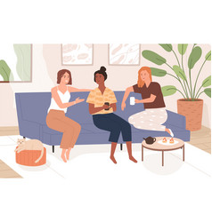 female friends sitting on comfy sofa talking vector image