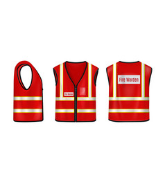 Fire warden safety vest front side and back view vector