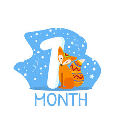First month birthday anniversary number and cute vector