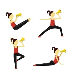 Fitness instructor says into a megaphone vector image