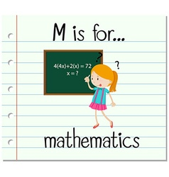 Flashcard letter M is for mathematics vector