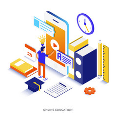 Flat color modern isometric - online education vector