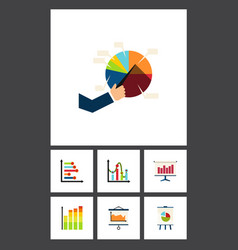 flat icon graph set of statistic infographic vector image