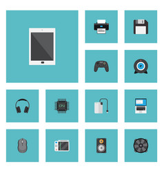 Flat icons cooler computer mouse palmtop and vector