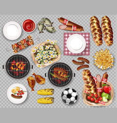Food for picnic bbq set collection isolated vector