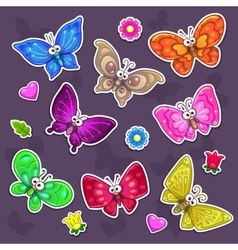 Funny cartoon butterflies stickers set vector image
