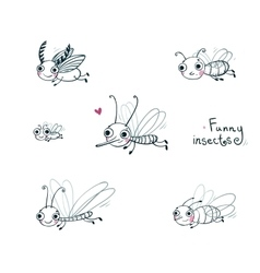 Funny insect cartoon set vector