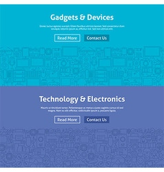 Gadgets and Devices Line Art Web Banners Set vector
