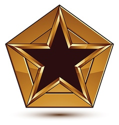 Glamorous template with pentagonal black star with vector