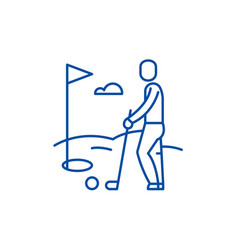 golf player line icon concept golf player flat vector image