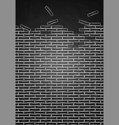 graphic brick wall drawn in the engraving vector image