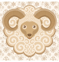 Greeting card with cute ram vector image