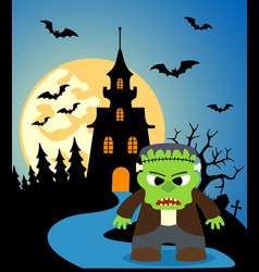Halloween background with frankenstein and full vector