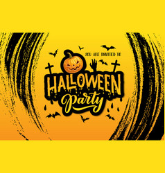 halloween horror party invitation with pumpkin vector image