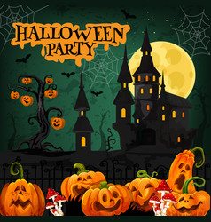 Halloween night party invitation with horror house vector