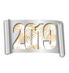 Happy new year card white number 2019 gold vector