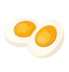 Hard boiled egg halves flat vector