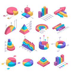 isometric diagrams infographic set vector image