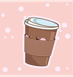 kawaii coffee cute cafe drinks coffee vector image