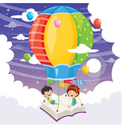 Kids flying hot air balloon vector
