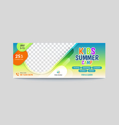 Kids summer camp facebook cover banner vector
