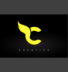letter c logo with yellow colors and wing design vector image