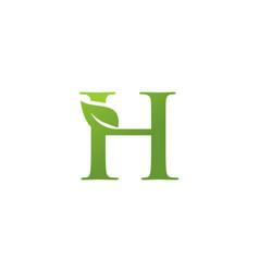 letter h leaf nature logo vector image