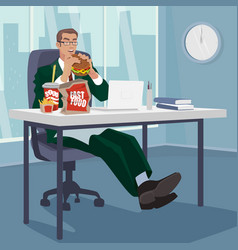 manager snacking fast food in workplace vector image