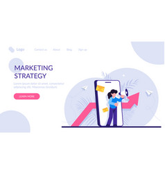 Marketing strategy concept woman with a megaphone vector