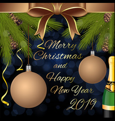 Merry christmas and happy new year 2019 vector