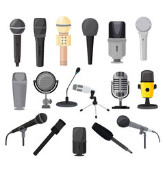 Microphone microphones for audio podcast vector