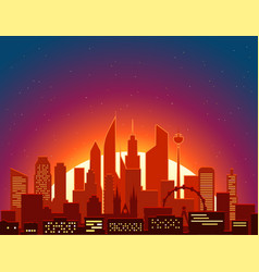Modern cityscape in the morning big city scene vector