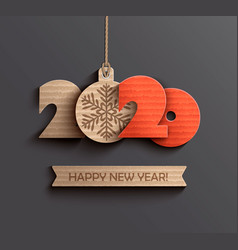 modern happy new year 2020 paper design vector image