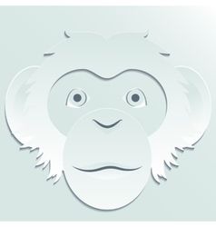 Monkey head carved out of paper vector