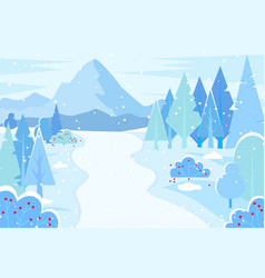 nature winter landscape with mountain range vector image
