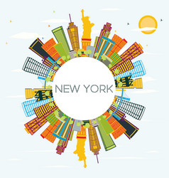 new york skyline with color buildings blue sky vector image