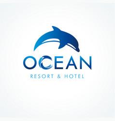ocean dolphin resort hotel logo concept vector image