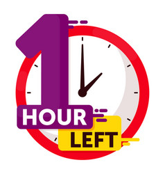 One hour left countdown badge isolated on white vector