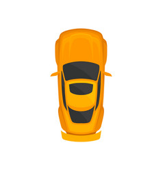 Orange sport car top view city vehicle transport vector