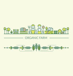 organic farm line icons header and footer vector image