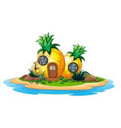 Pineapple house on island vector