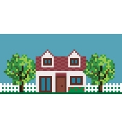 Pixel House with Fence and Garden vector
