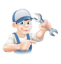 Plumber or mechanic pointing vector