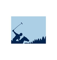 Polo Player Riding Horse Trees Square Retro vector