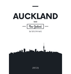 Poster city skyline auckland flat style vector