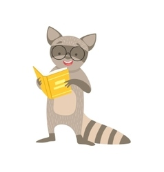 Raccoon smiling bookworm zoo character wearing vector