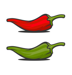 red and green mexican jalapeno hot chili peppers vector image