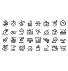 Reputation icons set outline style vector